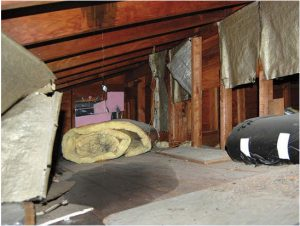 image shows leaky attic due to roof replacement needed by Patriots Roofing