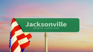 Jacksonville – North Carolina. Road or Town Sign. Flag of the